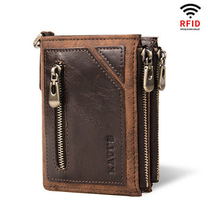 Mens RFID Protection Vintage Zipper Wallet