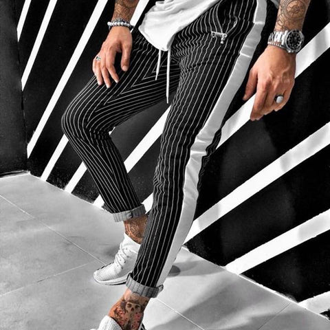 Handsome Stripe Stitching Color Pants