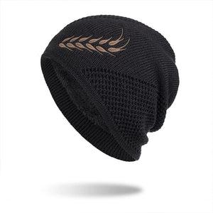 Men's Winter Warm Knitting Hat Wheat Ears Pattern Hip Hop Skullies Beanie
