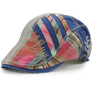 Unisex Cotton Stripe Washed Beret Caps