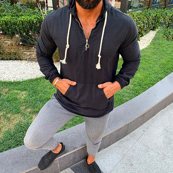 Mens New Solid Color Hooded Long-sleeved Sweater