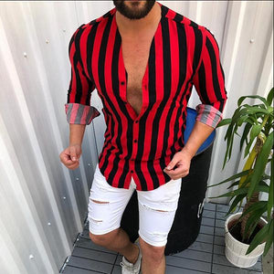 Men's Simple Striped Stand Collar Shirts