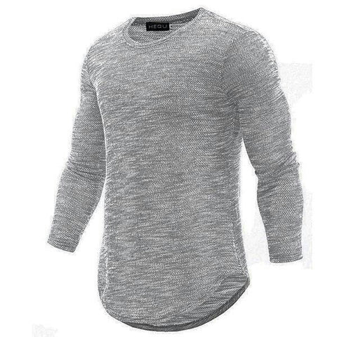 Casual Long Sleeve Cotton Round-Neck Shirt