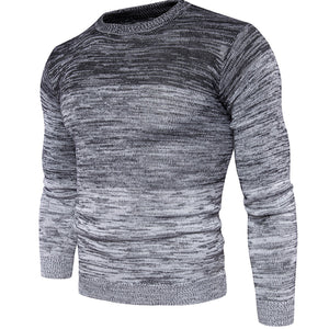 Mens Fashion Round Collar Solid Knit Sweater