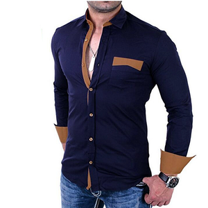 Men's Colorblock Slim Long-Sleeves Business Shirts