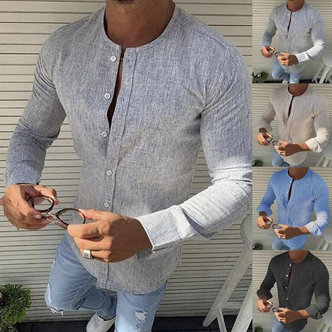 Men's Stand Collar Classic Long Sleeve Shirt