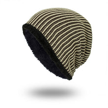Load image into Gallery viewer, Solid Color Stripe Knit Fashion Beanie Hat Outdoor Skiing Keep Warm Cap