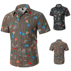 Mens Printed Short Sleeve Turndown Collar Casual Shirts