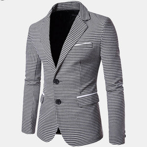 Spring/Autumn Men's Business Casual Plaid Pockets Single Breasted Design Slim Suits