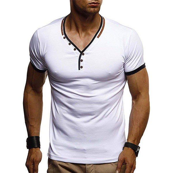497ccc7d6 Mens Casual V Neck Button Short Sleeve T-Shirts – widezee