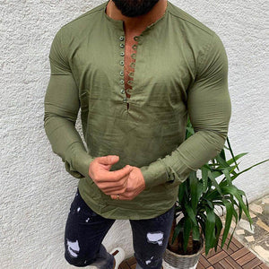 Men's Casual Pure Color Long Sleeve T-Shirts