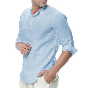 Men Casual Turndown Collar Shirt Rolled Up Sleeves Shirts
