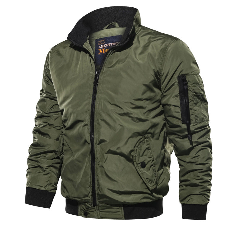 Fashion Solid Stand Collar Pilot Jacket