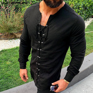 Lace-up Men Pirate Landlord Knight Tunic Casual Shirt