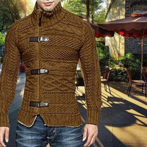 Autumn Winter Men's Turtleneck Button Long Sleeve Sweater