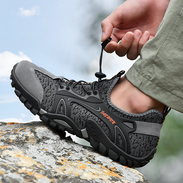 Men Non Slip Lace Up Soft Sole Casual Hiking Sneakers