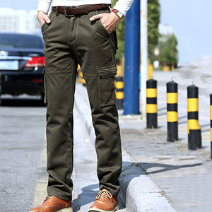Men Casual Loose Multi-pocket Military Pants Fleece Warm Winter Cargo Pants