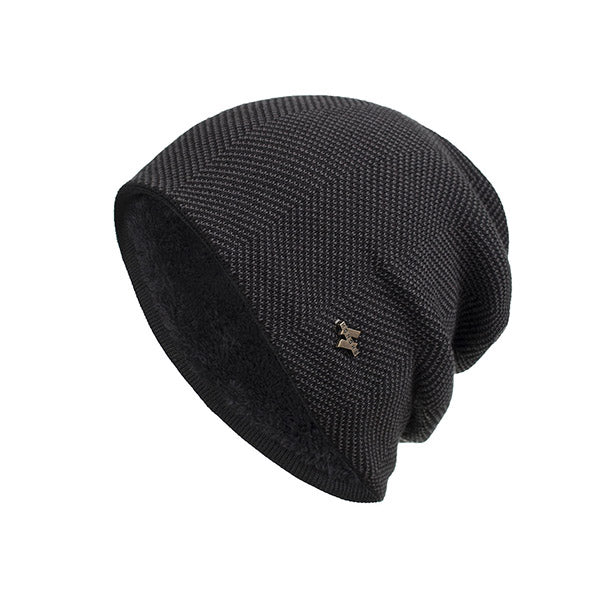 Mens Iron Icon Decoration Knitted Beanie Warm Hats