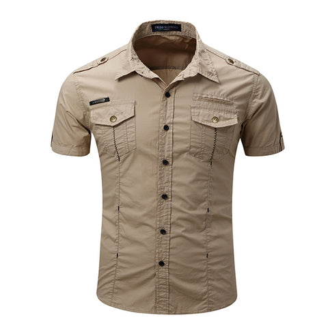 Mens Short Sleeve Pocket Decoration Button Up Leisure Shirts