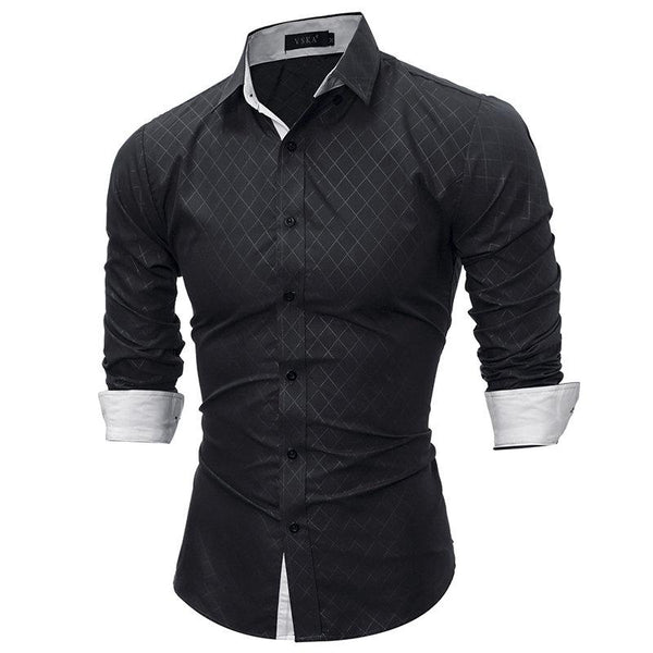 Mens Business Plaids Printed Decent Slim Fit Long Sleeve Shirts