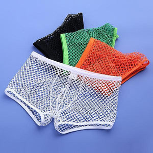 Men Sexy Net See Through Thin Breathable Plain Underwear