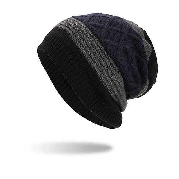 Mens Wool Velvet Knit Hat Winter Outdoor Casual Snow Cycling Beanie