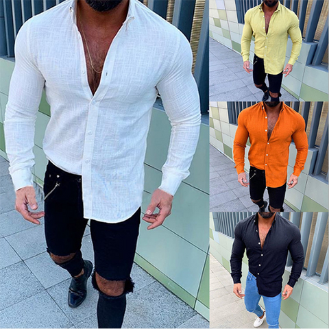 Men's Fashion Casual Solid Color Shirts
