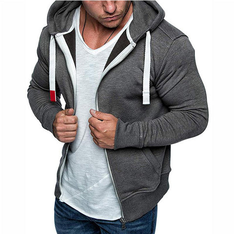 Drawstring Zipper Up Pockets Fleece Hoodie