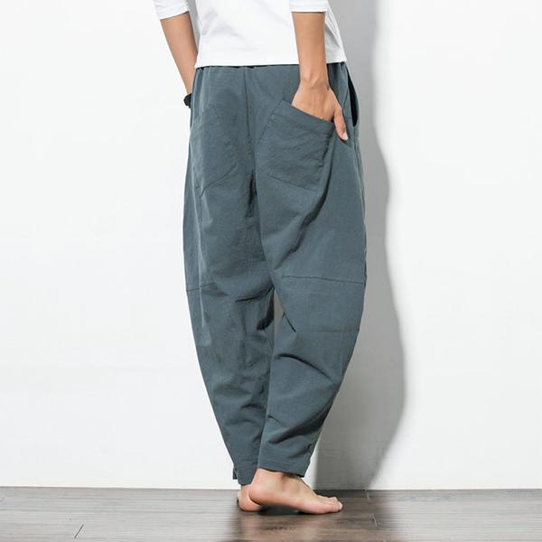 Men's Loose Wide Leg Solid Color Casual Cotton Pants