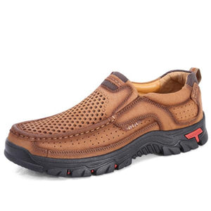 Men Casual Outdoor Slip-on Genuine Leather Breathable Oxfords