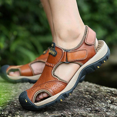 Casual Anti Collision Hook and Loop Fastener Leather Sandals