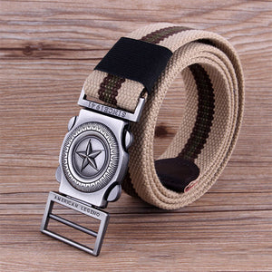 Men Casual Outdoor Canvas Belt Thickening Alloy Buckle Pants Strip