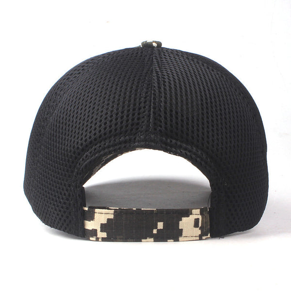 Mens USA Flag Patch Buckle Hats Mesh Camouflage Baseball Cap
