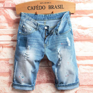 Light Blue Hip-Hop Holes Slim Fit Knee Length Jean Denim Shorts