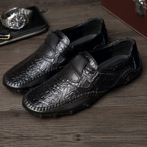 Mens Hand Stitching Hook Loop Soft Sole Flat Shoes