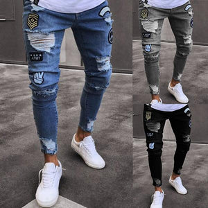Stylish Hip Hop Ripped Holes Washed Skinny Designer Jeans For Men