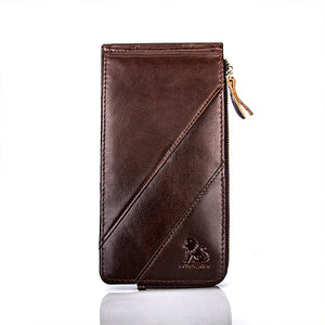Men Genuine Leather RFID Blocking Card Holder Wallet