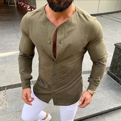 Men's Casual Stand Collar Solid Color Shirt