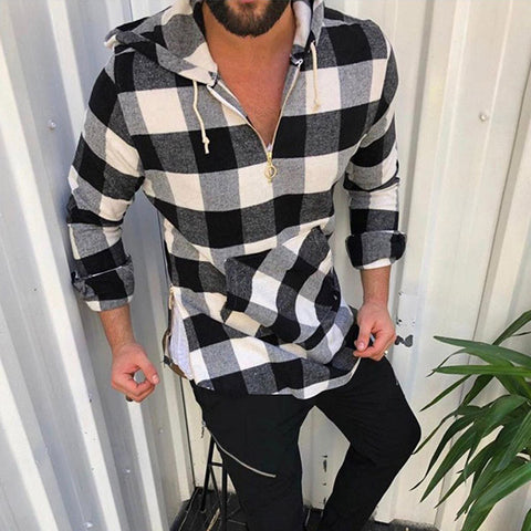 Men Plaid Hooded Casual Zipper Hoodies Coats
