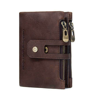Men's Fashion Genuine Leather Retro Card Holder Short Wallet
