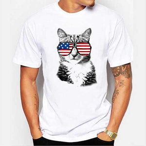 American Flag Glasses Cool Cat Personality Pattern Short Sleeved T-Shirts
