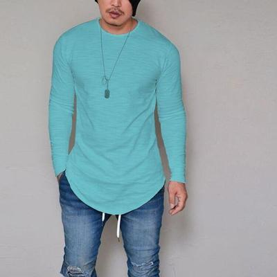 Mens Elastic Cotton Long Sleeve Solid Color T-Shirt