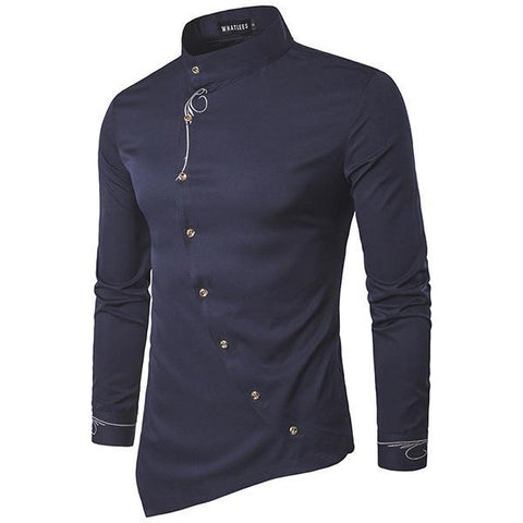 Mens Embroidery Personality Irregular Hem long Sleeve Casual Shirts