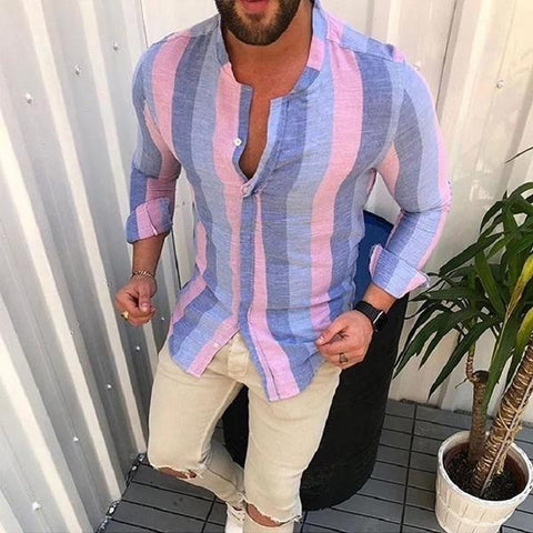Men's Fashion Colorblock Striped Long Sleeve Shirts