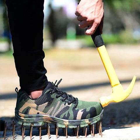 Mens Steel Toe Work Shoes Lace-up Slip-resistant Camouflage Athletic Shoes