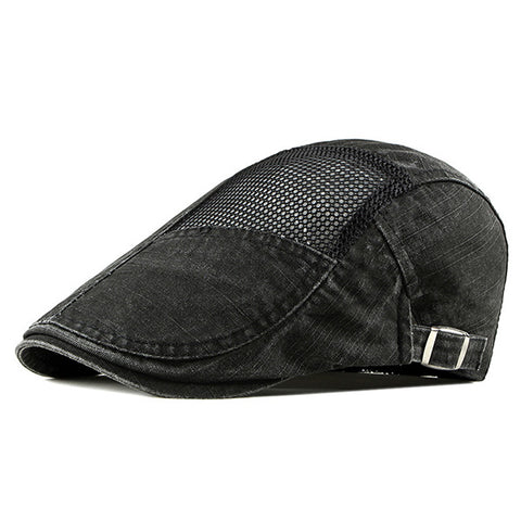 Mens Breathable Mesh Newsboy Cabbie Hat Adjustable Beret Cap