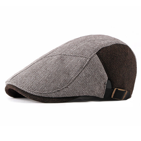 Men Color Block Beret Cap Adjustable Peaked Forward Cap