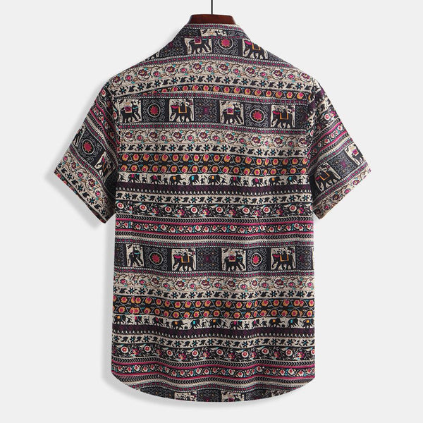 Men Floral Printing Ethnic Style Cotton Shirts Short Sleeve Loose Casual Shirt Tops