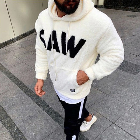 Mens Fashion Plush Hooded Solid Color Hoodies Coats