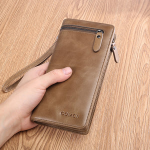 Mens Vintage Business Zipper Long Wallet